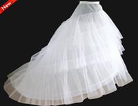 Wholesale Hoops Crinoline - on Sale White 3 Hoop Petticoat Crinoline Underskirt Slip A line Bridal Wedding Petticoat Crinoline