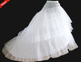 Wholesale Wedding Hoops Petticoats - on Sale White 3 Hoop Petticoat Crinoline Underskirt Slip A line Bridal Wedding Petticoat Crinoline