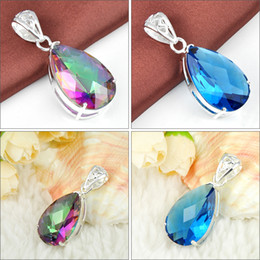 Wholesale Mixed Crystal Pendant 925 - Mix Color 2PCS Lot Party Holiday Jewelry Gift Colored Mystic Topaz Blue Topaz Gems 925 Silver Pendant