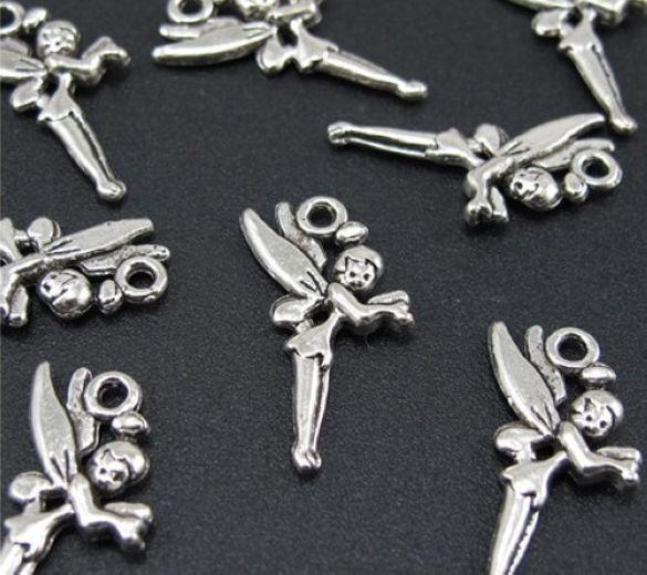 Hurtownie - 150 sztuk Tybetański Silver Cute Lovely Angel Fairy Charms Wisiorki na biżuterię Wykrycia 25x14mm