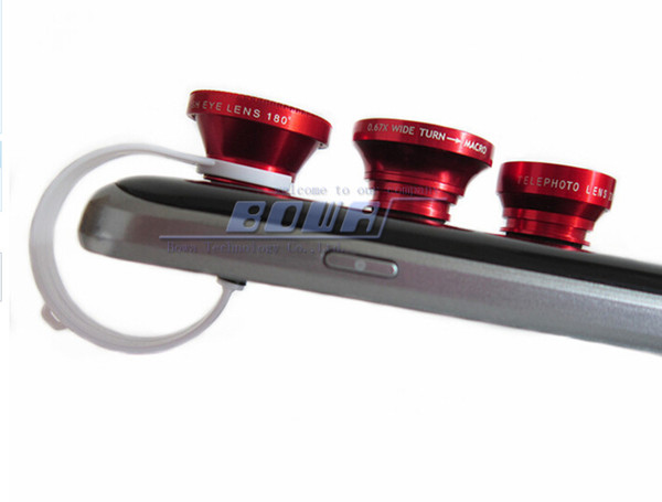 DHL 50pcs clip 4 en 1 lentille de téléphone, lentille de caméra smartphone pour téléphone portable, 4 en 1 objectif mobile universel pour tous les téléphones