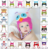 Wholesale Crochet Hats Monkey Style - 100pcs 27 Color 100%Cotton Children Handmade Crochet Monkey and Piggy Hats Various Animal Styles Hat Baby Owl Beanie Hat Kids Wool Cap 4006