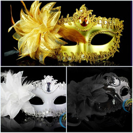 Wholesale Cat Eyes Masquerade Masks - In Stock Mix Order Feather Half Faces Eye Masks With Lily on Side Masquerade Mardi Gras Venetian Halloween Prom Dancing Party Masks