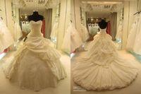 Wholesale Modest Luxury Wedding Dress - 2016 modest luxury soft taffeta lace-up monarch train ball gown wedding dresses custom made free shipping