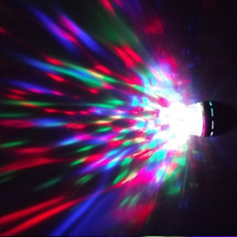 Wholesale Disco Dj Stage Lighting Laser - Dazzling E27 3W RGB LED Laser Stage Light Crystal Magic Ball Effect Colorful Bulb Roating Lamp for KTV Party DJ Disco House Club