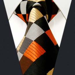 Wholesale Necktie Extra Long - S4 Checked Multicolored Brown Fashion Extra Long Size Mens Neckties Ties 100% Silk New Jacquard Woven
