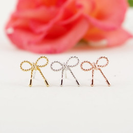 Wholesale Wholesale Silver Bow Earrings - 10pcs lot Fashion jewelry 2015 new wholesale Gold Silver Pink Gold Little Twist Bow stud Earrings ED049