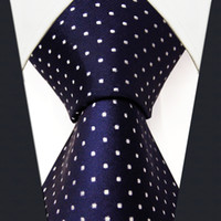 Wholesale Plain Navy Tie - S6 Dots Navy Dark Blue White Fashion Mens Neckties Ties 100% Silk Extra Long Size Jacquard Woven