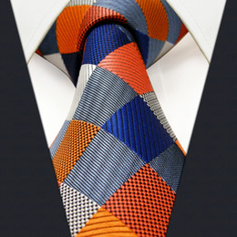Wholesale Tie Knot Gifts - S17 Extra Long Size Checked Multicolor Mens Ties Neckties 100% Silk Jacquard Woven Gift For Men