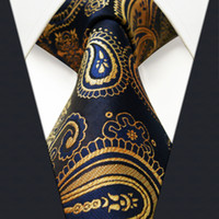 Wholesale Neckties Navy - U10 Multi-color Gold Blue Navy Paisley Mens Tie Neckties Jacquarhsia Dark Gray Grey Mens Ties 100% Silk Jacquard Woven