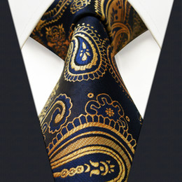 Wholesale U10 Multi color Gold Blue Navy Paisley Mens Tie Neckties Jacquarhsia Dark Gray Grey Mens Ties Silk Jacquard Woven