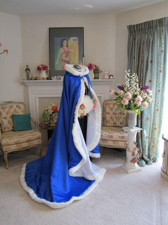 Nowy Victorian Bridal Cape Navy Blue / Ivory Satyna z futrzanym wykończeniem ślubu na zimową wiosnę