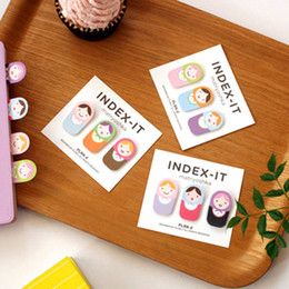 Wholesale Doll Bookmarks - Cute Fun Matryoshka Doll Sticker Memo Flags Sticky Notes Post-It Note Bookmark Marker Home Office Color Random OSS-0052