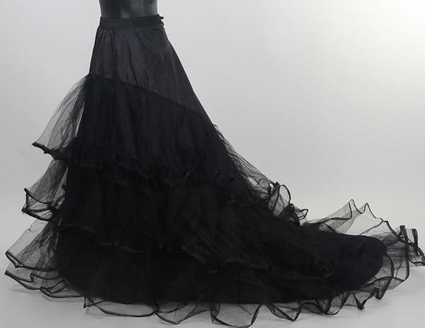 Meilleure vente pas cher taille moyenne 3 cerceau jupon noir mariée crinoline chapelle tribunal train robe de mariée petticoat