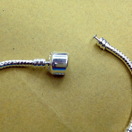 Wholesale Parts For Bracelets - Chainsaw Parts Cadena De Motosierra Wholesale - 3mm 16-21cm Silver for Pandora Plated Bracelet Chain with Barrel Clasp Fit European Beads