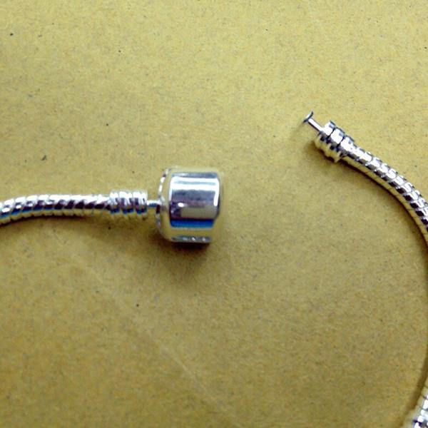 Chainsaw Parts Cadena De Motosierra Wholesale - 3mm 16-21cm Silver for Pandora Plated Bracelet Chain with Barrel Clasp Fit European Beads