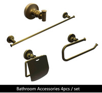 Wholesale Towel Bathroom Hooks Antique - Bathroom Accessories Set Solid Brass antique finish Robe hook,Paper Holder,Single Towel Bar 60cm,Towel ring 4 pcs set--5500 4.