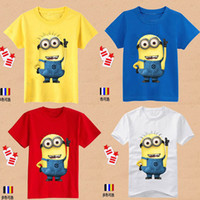 Wholesale Despicable Clothing - Cartoon Despicable me minions clothes children t shirts girl boys shirts children's clothing t shirts baby & kids wear free ship