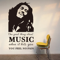 Wholesale Large Vinyl Music Wall Stickers - Vinyl Wall Art Stickers One Good Thing About Music Bob Marley Quote Wall Decal for Room Decor