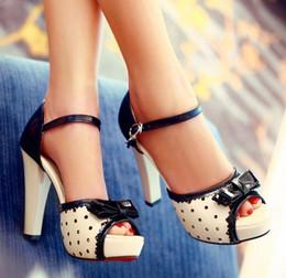 Wholesale Lady S High Heel Shoe - ENMAYER Black 2014 new lady   women 's sexy high heels sandals platform Ankle Strap Cover Heel sandals peep toe shoes size 34-42