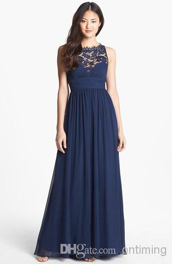 2015 Navy Blue Szyfonowe Długie Suknie Druhna Sheer Koronki Klejnot Dekolt Długość Podłogi Imperium Talii Zipper Wedding Honor Bridal Pokojów Suknie