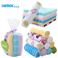 Wholesale Child Wash Face - 2014 Danrol Baby Square Towels Newborn handkerchief Feeding Bib Wash Towel 8pcs lot Free Shipping