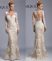 Wholesale Trend Evening Dress - 2016 New Sexy Lace Prom Dress Sweetheart Hollow Back Long Sleeve Sweep Train Janique Spring Summer Party Evening Gown Fashion Trend
