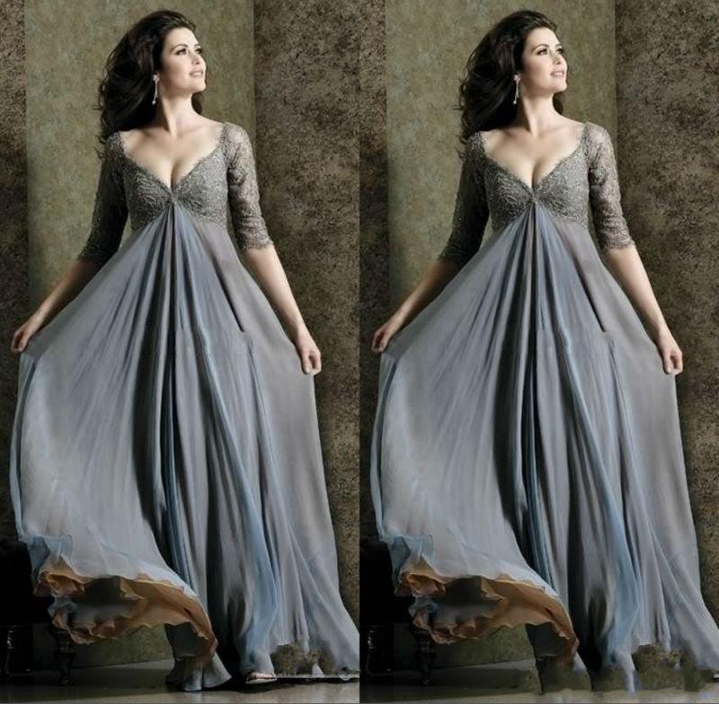 Eleganckie Empire Koronki Upper Body Maternity Suknie Wieczorowe Plus Rozmiar V Neck Linia Pełna Długość Pół Rękaw Prom Dress Dla Kobiet w ciąży Sukienka