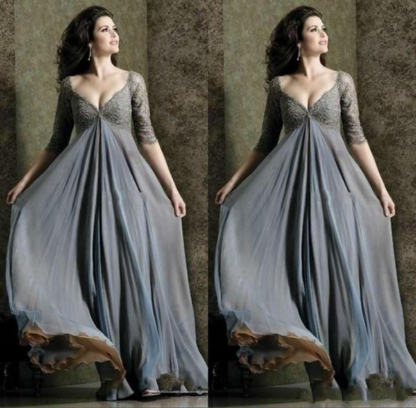 Elegant Empire Lace Upper Body Maternity Evening Dresses Plus Size V Neck A Line Full Length Half Sleeve Prom Dress For Pregnant Women Dress