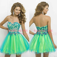 Wholesale Short Strapless Sweetheart Dresses - 2017 Colorful Tulle Cocktail Homecoming Dresses Sexy Sweetheart Backless Crystal Beaded Bodice Mini Short Party 2015 Prom Gowns BL9721