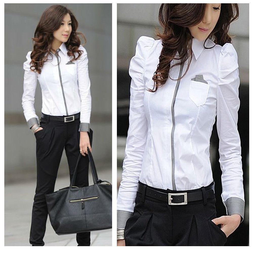 2018 Women White Formal Office Ladies Ol Long Puff Sleeve