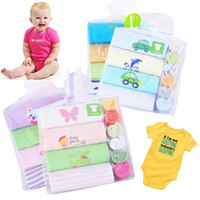 Wholesale Baby Animal Bodysuits - Danrol Baby Short Sleeve Bodysuits Towel Set 4 Romper 6 Handkerchief Christmas Gift Sets Free Shipping