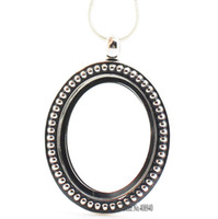 Wholesale floating glass charms resale online - Silver oval magnetic glass floating charm locket x34mm chains included for free LSFL08