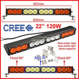 "Discount amber flood lights - EMS 22"" 120W CREE 12LED*10w Driving Work Fog Light Bar Amber + White Lens Offroad SUV ATV 4WD 4x4 Spot   Flood   Co"