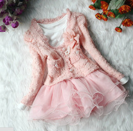 Cardigan Pearls Lace Canada - Spring Autumn 2 Pcs Baby Girl Clothing Set Princess Dress + Pearl Lace Cardigan Girls Fashion Coat Cute Tutu Skirt Free Shipping