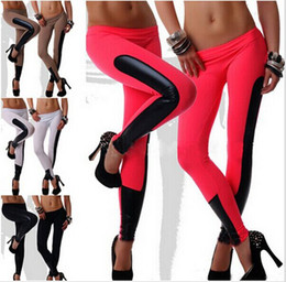 Wholesale Red Black Leather Leggings - women sport leggings pants sexy fashion imitation leather patchwork gym leggings for women sport leggins jeggings clothes hight quality new