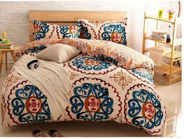 yellow blue vintage bedding comforter set king queen size duvet cover bedspread bed in a bag sheet bedroom quilt bedclothes linen brushed high end bedding - Vintage Bedding