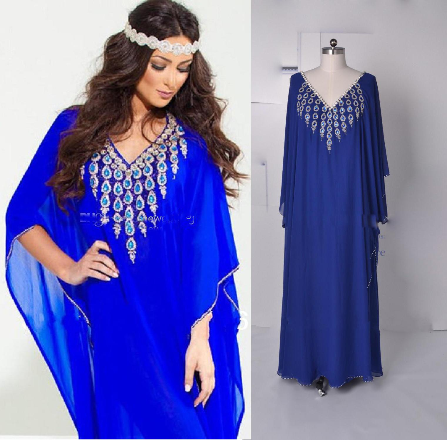Bat Sleeves Evening Dresses With Arabic Dubai Abaya V Neck
