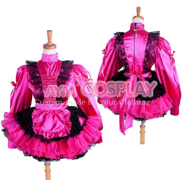 Sissy Maid Satin Robe Cosplay costume Sur Mesure