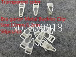 Wholesale Suspenders Plastic Clips - 12mm buckle clips 50pcs lot Transparent Metal Iron plastic Durable bra Strapsadjustable metal suspenders garter buckle clips