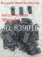 Wholesale Suspenders Plastic Clips - 12mm buckle clips 50pcs lot Black sexy Metal Iron plastic Durable bra Strapsadjustable metal suspenders garter buckle clips