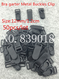 Wholesale Durable Plastic Clips - 12mm buckle clips 50pcs lot Black sexy Metal Iron plastic Durable bra Strapsadjustable metal suspenders garter buckle clips