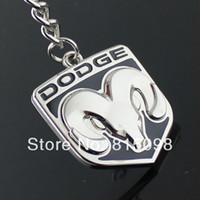 Wholesale Wholesale Metal Emblems - Wholesale-Refires dodge keychain double faced dodge ram metal emblem key chain hangings