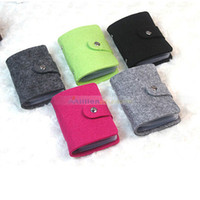 Wholesale Wool Pouches - Wholesale-Hot Sale Vintage Fsshion Wool Felt ID Credit Card Holder Pouch Wallet Purse Pocket Handbag up to 24 Cards for Women