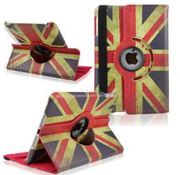 Wholesale Ipad Mini Usa - 360 Degree Rotaing Magnetic Retro UK USA Flag stand leather case for ipad 2 3 4 5 air mini 2 Retina 360 Rotating Case by dhl UPS FEDEX