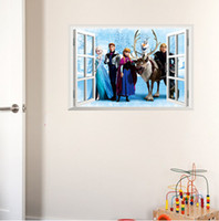Wholesale Sticker For Children Day - lovely fashion 60*45cm Frozen queen Elsa Anna removable 3D window view Wall Sticker Home Decor Room children Kids for Christmas gift