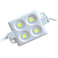 pcb white led пожелтение оптовых-ABS пластик 4 шт 5050 SMD LED модуль свет светодиодный свет 3M клей назад высокая яркость IP65 водонепроницаемый строка