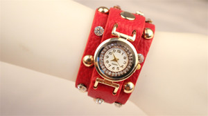 Wholesale Wrap Watches Rivet Rhinestone Wide Strap Wrist Watches Women Leather Quartz Round Dial Charming Bracelets Watches Mix Colors