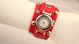 Wholesale Watch Wide - Wrap Watches Rivet Rhinestone Wide Strap Wrist Watches Women Leather Quartz Round Dial Charming Bracelets Watches Mix Colors