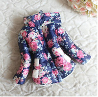 Wholesale Cotton Padded Jacket Baby - Wholesale -Children winter clothing girls cotton-padded clothes kids flower outwear Girls popular thicken coat baby girl's jacket
